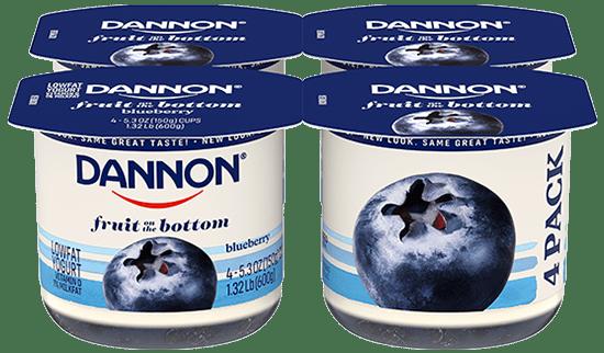 Dannon Blueberry Fruit on the Bottom Yogurt 4 Pack