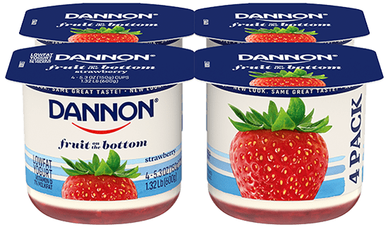 Dannon Strawberry Fruit on the Bottom Yogurt 4 Pack