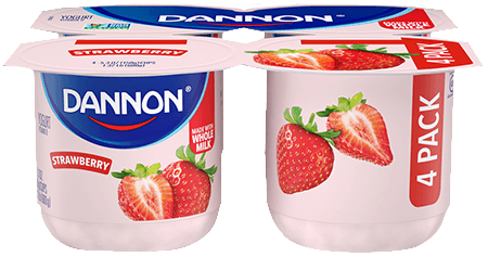 Dannon Strawberry Whole Milk Yogurt 4 Pack