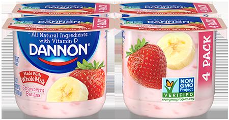 Dannon Whole Milk Yogurt - Strawberry Banana 4-Pack
