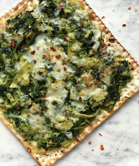 Cheesy Spinach-Artichoke Dip Matzah